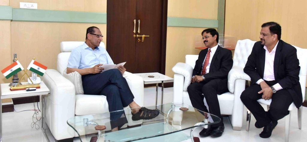 L&T Managing Director Chief Executive Officer and Managing Director S N Subrahmanyan and L&TMRHL MD and CEO KVB Reddy call on Telangana Governor ESL Narasimhan at Raj Bhawan in ...