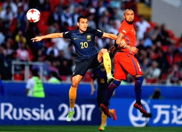 (L to R): Australia's Trent Sainsbury and Chile's Arturo Vidal during the 2017 FIFA Confederations Cup match between Chile and Australia at Spartak Stadium, Moscow, Russia on June 25, 2017.