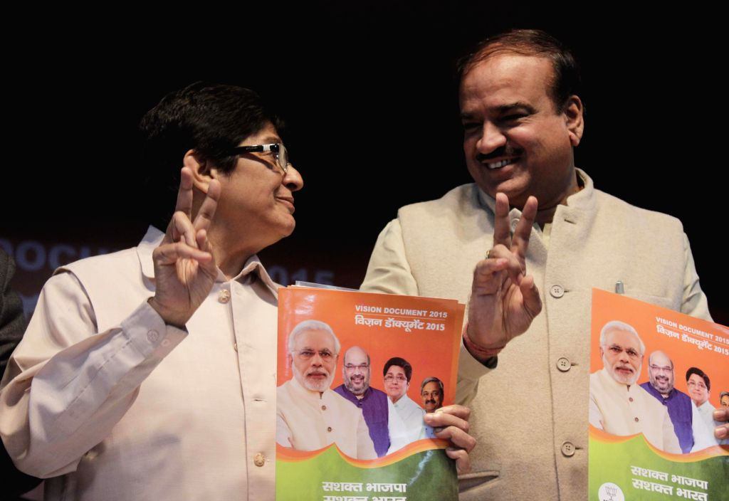 (L to R) BJP leaders Kiran Bedi and Ananth Kumar during launch of Vision Document at BJP headquarter in New Delhi on Feb. 3, 2015. - Kiran Bedi and Ananth Kumar
