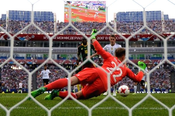 (L to R): Cameroon's Vincent Aboubakar, Germany's goalkeeper Marc-Andre ter Stegen and Germany's Matthias Ginter during the 2017 FIFA Confederations Cup match between Germany and Cameroon in Sochi, ...