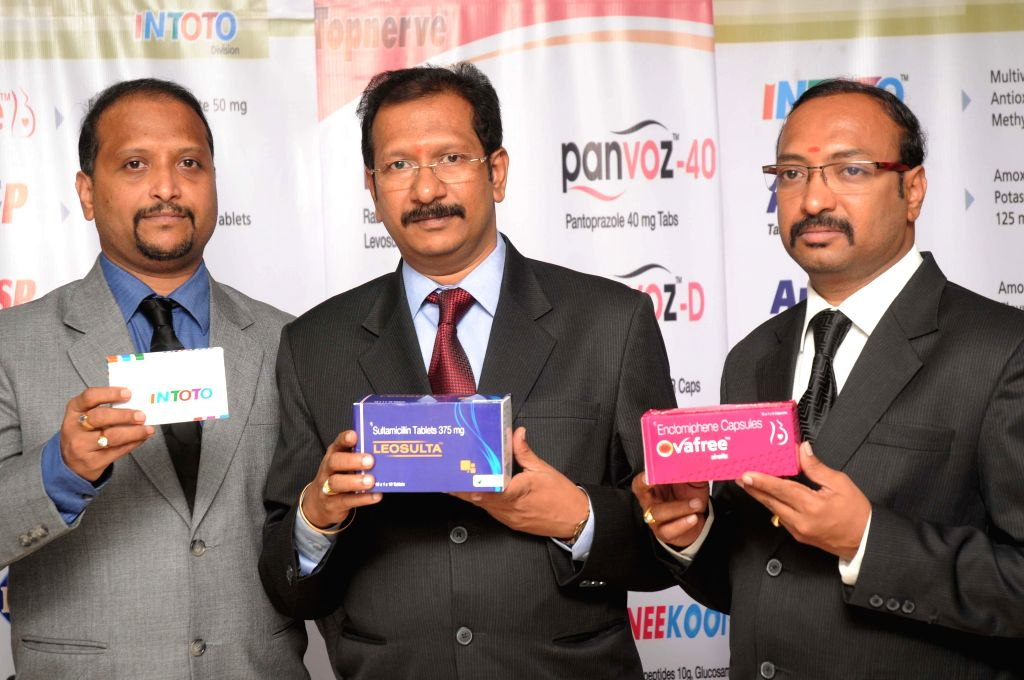 (L to R) CEO Vasu Organic B.Srinivas, MD Vasu Organic B.Ramesh and Vasu Organic Group Chairman B. Bhanu Murthy launching the new medictions of Gastro, Ortho,ENT and General Medicines with ...