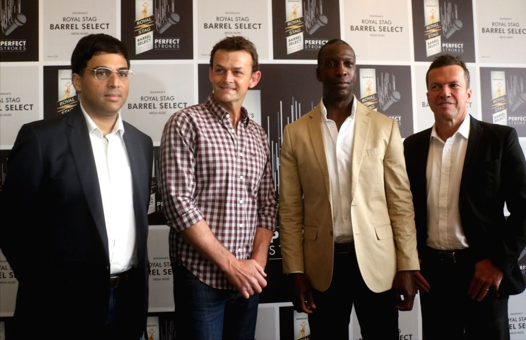 (L to R) Chess legend Viswanathan Anand, former Australian wicketkeeper-batsman Adam Gilchrist, American sprinting legend Michael Johnson and German football legend Lothar Matthaus during ... - Adam Gilchrist
