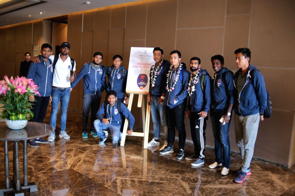 (L to R) Delhi Dynamos Football Club's players Anas Edathodika, Sanjiban Ghosh, Sauvik Chakrabarti, Milan Singh, Arjun Tudu (sitting), Chinglensana Konsham, Rupert Nongrum, Kean Lewis, ... - Sanjiban Ghosh and Singh