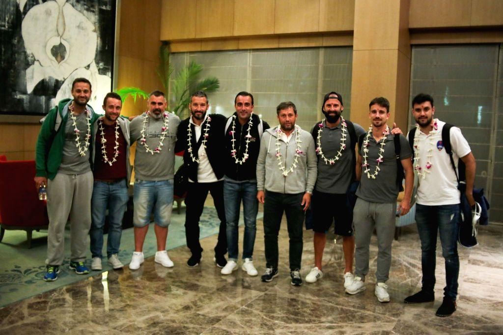 (L to R) Delhi Dynamos Football Club's Roberto Ghielmetti (Fitness Coach), Tom (Analyst), Sebastian Delgado (Goalkeeping coach), Gianluca Zambrotta (Head Coach), Simone Barone (Assistant ...