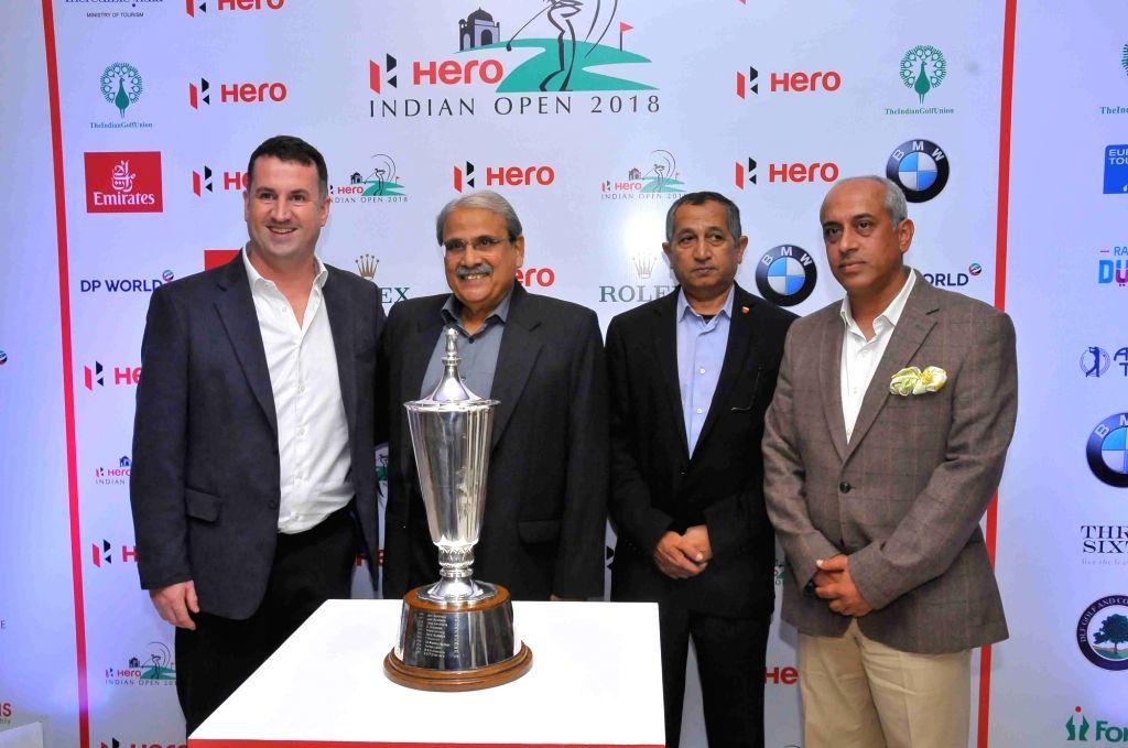 (L to R) EurAsia Golf Senior Director Charlie Tingey, Hero MotoCorp Ltd Advisor - Sports J Narain, Indian Golf Union President Wg Cdr Satish Aparajit and DLF Golf & Country Club ...