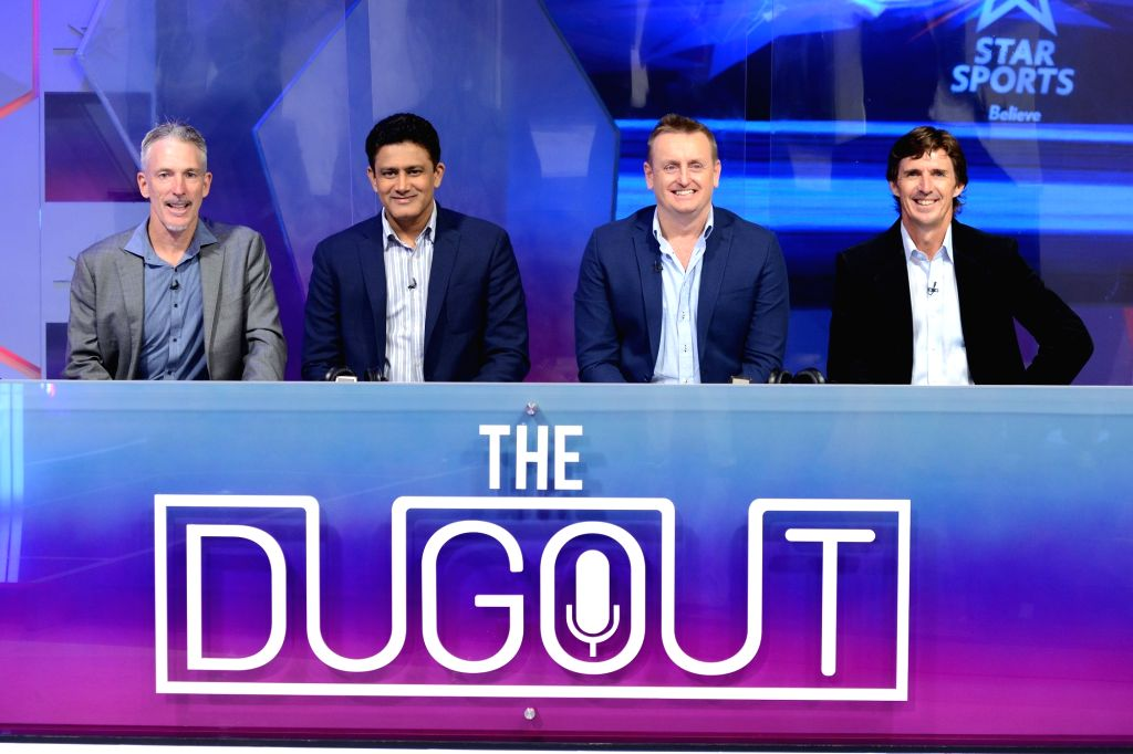"(L to R) Former cricketers Damien Fleming, Anil Kumble, Scott Styris and Brad Hogg at the launch of Star Sports ""The Dugout"" for IPL 2018 in Mumbai on April 6, 2018."