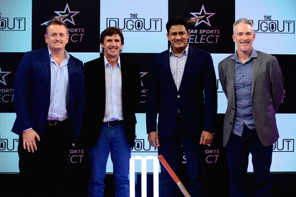 "(L to R) Former cricketers Scott Styris, Brad Hogg, Anil Kumble and Damien Fleming at the launch of Star Sports ""The Dugout"" for IPL 2018 in Mumbai on April 6, 2018."