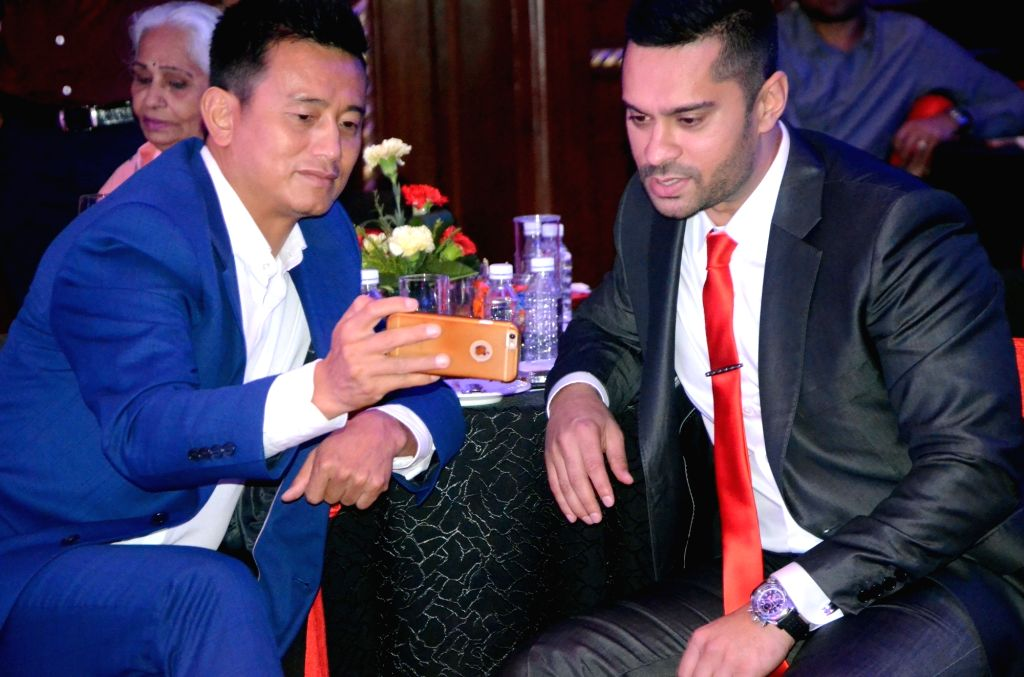 (L to R) Former footballer Bhaichung Bhutia and race car driver Gaurav Gill during Sports Illustrated award ceremony in Mumbai, on July 6, 2017.