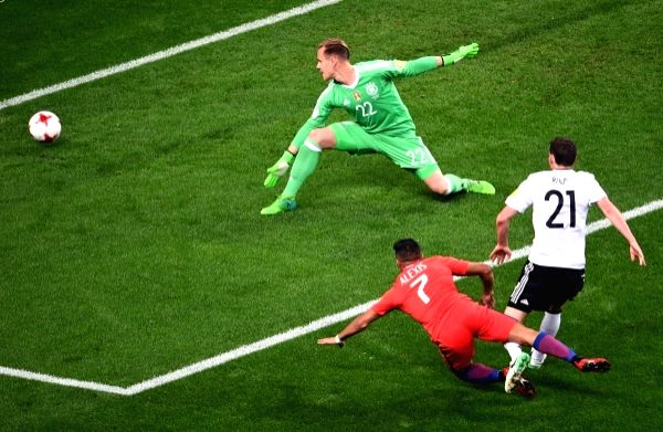 (L to R): Germany's goalkeeper Marc-Andre ter Stegen, Chile's Alexis Sanchez and Germany's Sebastian Rudy before the 2017 FIFA Confederations Cup match between Germany and Chile in Moscow on June 23, ...