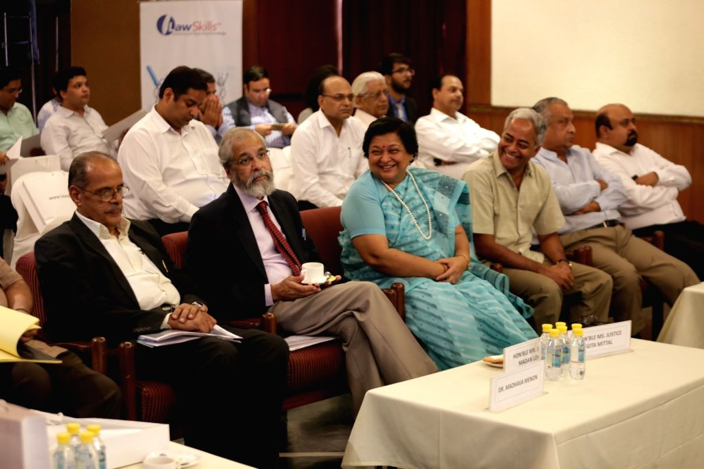(L to R) Jurist-educator N R Madhava Menon, Supreme Court Justice Madan B Lokur, Delhi High Court Justice Geeta Mittal and Manupatra Information Solutions Private Limited CEO and Founder ... - Deepak Kapoor