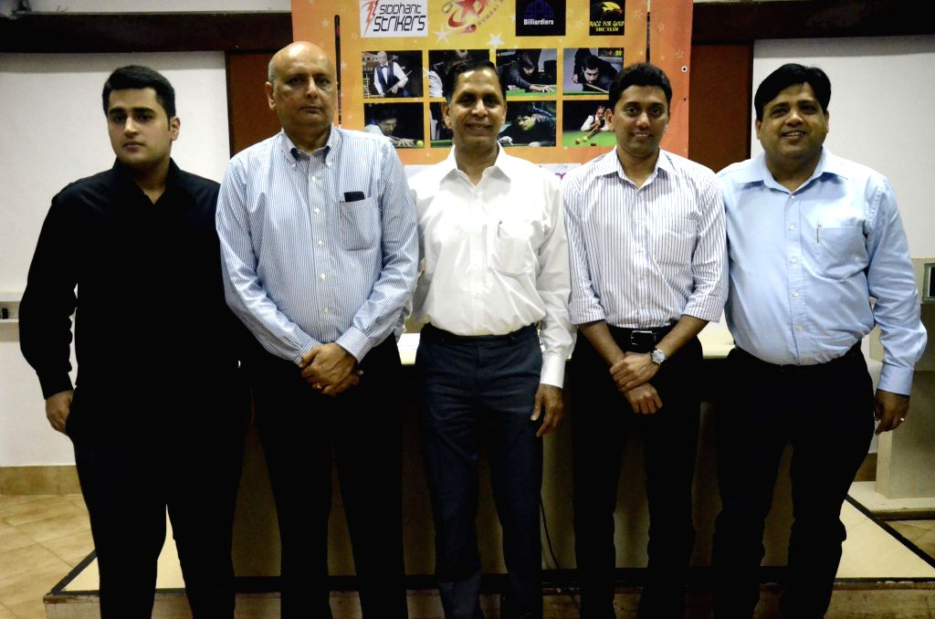 (L to R) Maharashtra billiard players Nalin, Arun, Dhruv and Ashok during a press conference to announce of 2nd Billiards Premier League 2015 in Mumbai, on Aug 5, 2015.