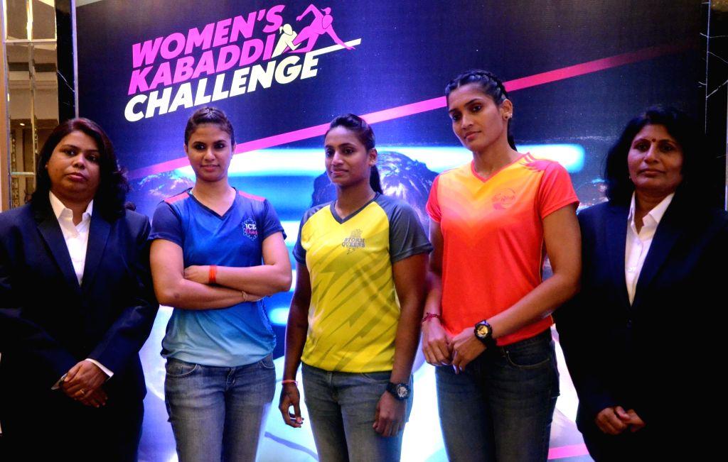 (L to R) Mumbai: Kabaddi players Abhilasha Mhatre, Tejasvini Bai, Mamta Pujari, coaches Banani Saha (L) and Padmaja (R) during a press meet in Mumbai, on June 27, 2016.