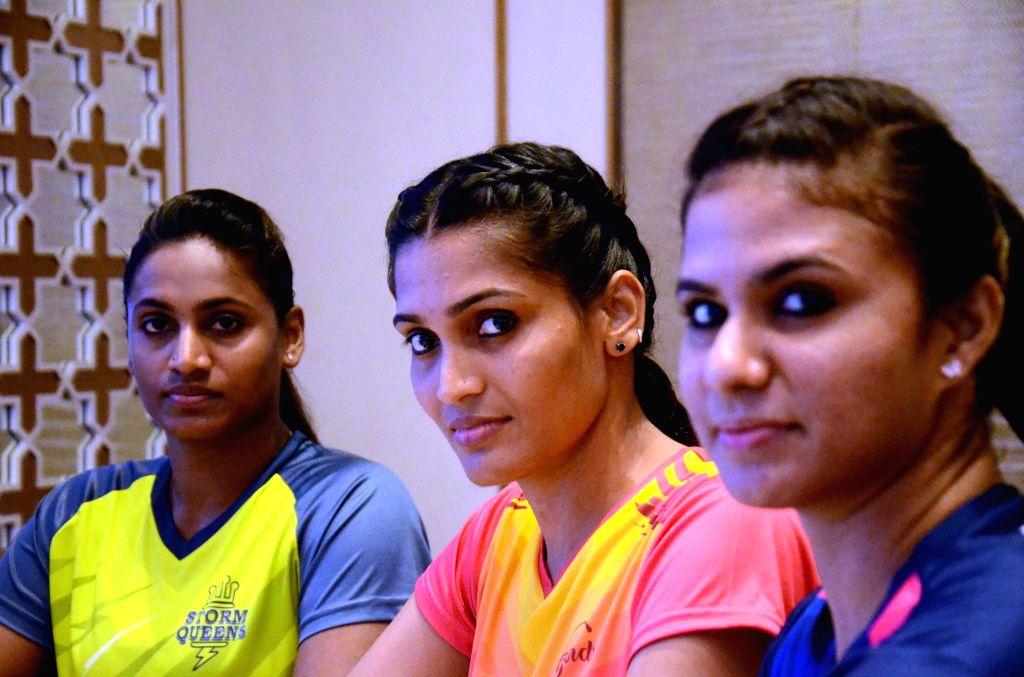 (L to R) Mumbai: Kabaddi players Tejasvini Bai, Mamta Pujari and Abhilasha Mhatre during a press meet in Mumbai, on June 27, 2016.