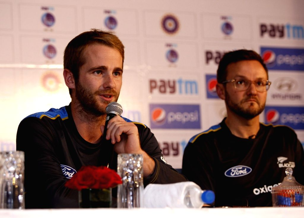 (L to R) New Zealand captain Kane Williamson and coach Mike Hesson during a press conference in New Delhi on Sept 13, 2016. - Kane Williamson