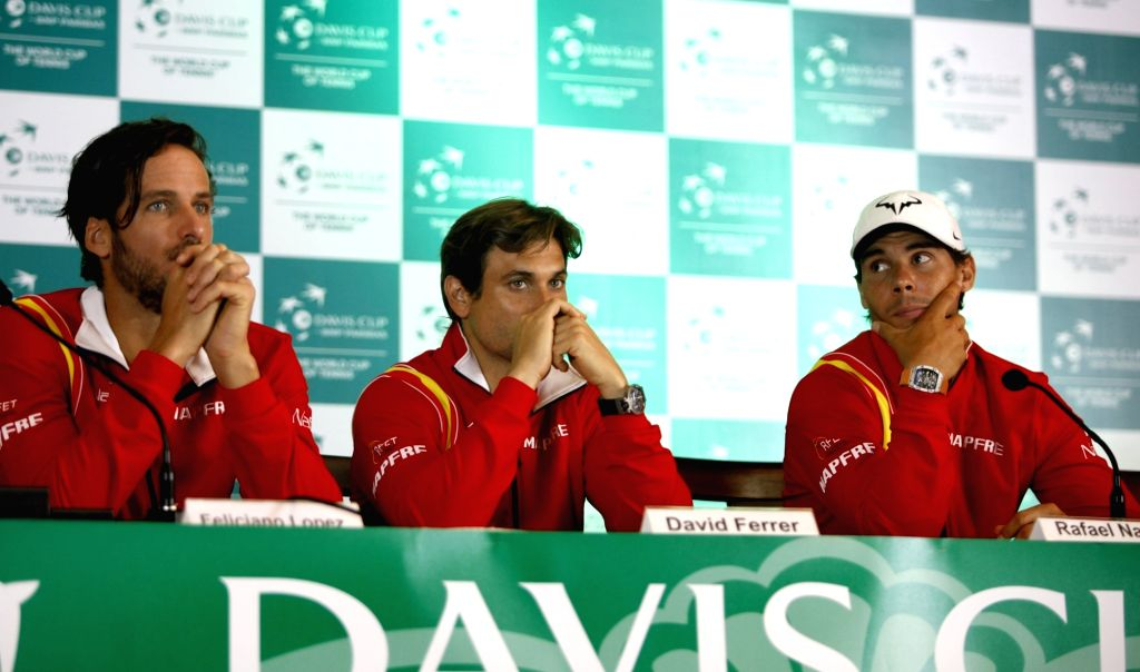 (L to R) Spanish tennis players Feliciano Lopez, David Ferrer and Rafael Nadal during press conference in New Delhi on Sept 15, 2016.