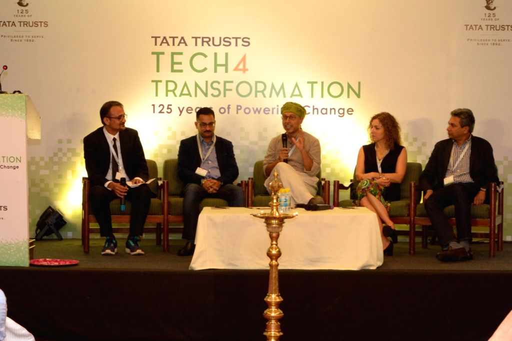 (L to R): Tata Trusts Head Strategy and Innovations Raman Kalyanakrishnan, MobiQuick Chief Business Officer Vineet Singh; Digital Empowerment Foundation Founder and Director Osama Manzar, ...