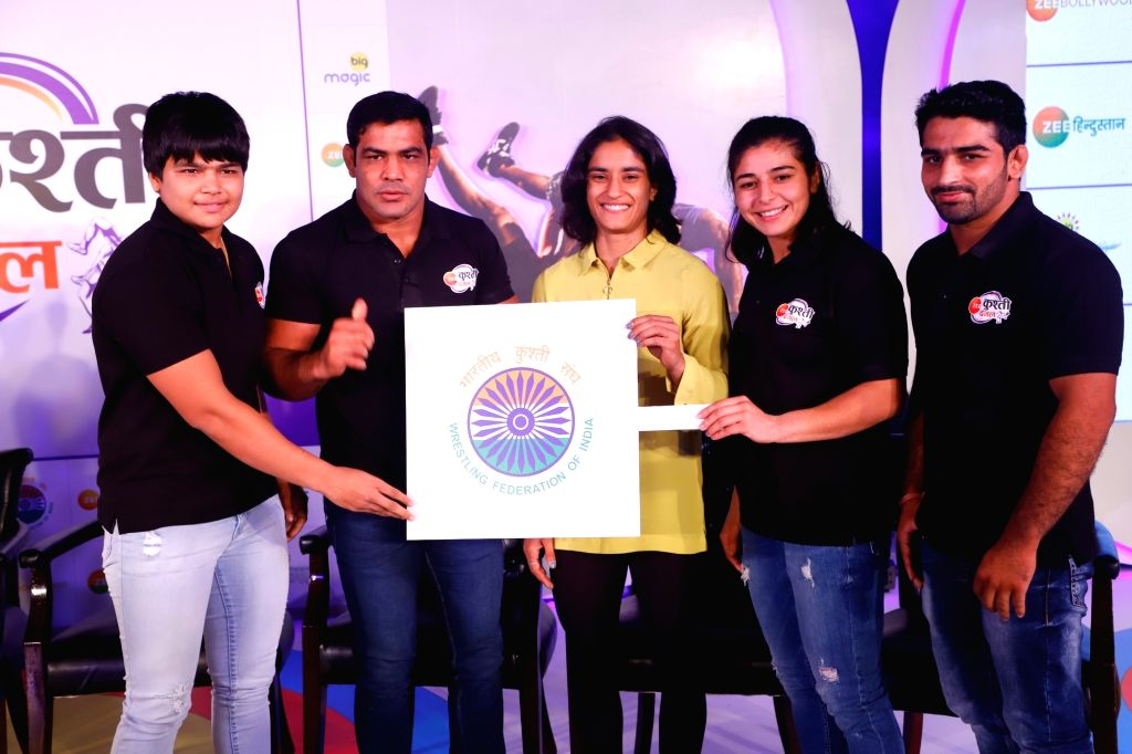 (L to R) Wrestlers Divya Kakran, Sushil Kumar, Vinesh Phogat, Sarita Mor and Sandeep Tomar during the launch of Kushti Dangal in New Delhi on Sep 23, 2019. - Sushil Kumar