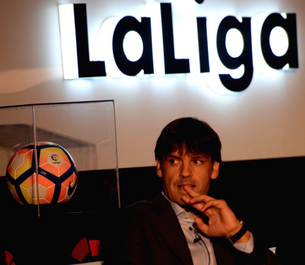 La Liga ambassador, former Real Madrid and Liverpool striker Fernando Morientes during a programme organised to launch La Liga in New Delhi on Sept 15, 2016.