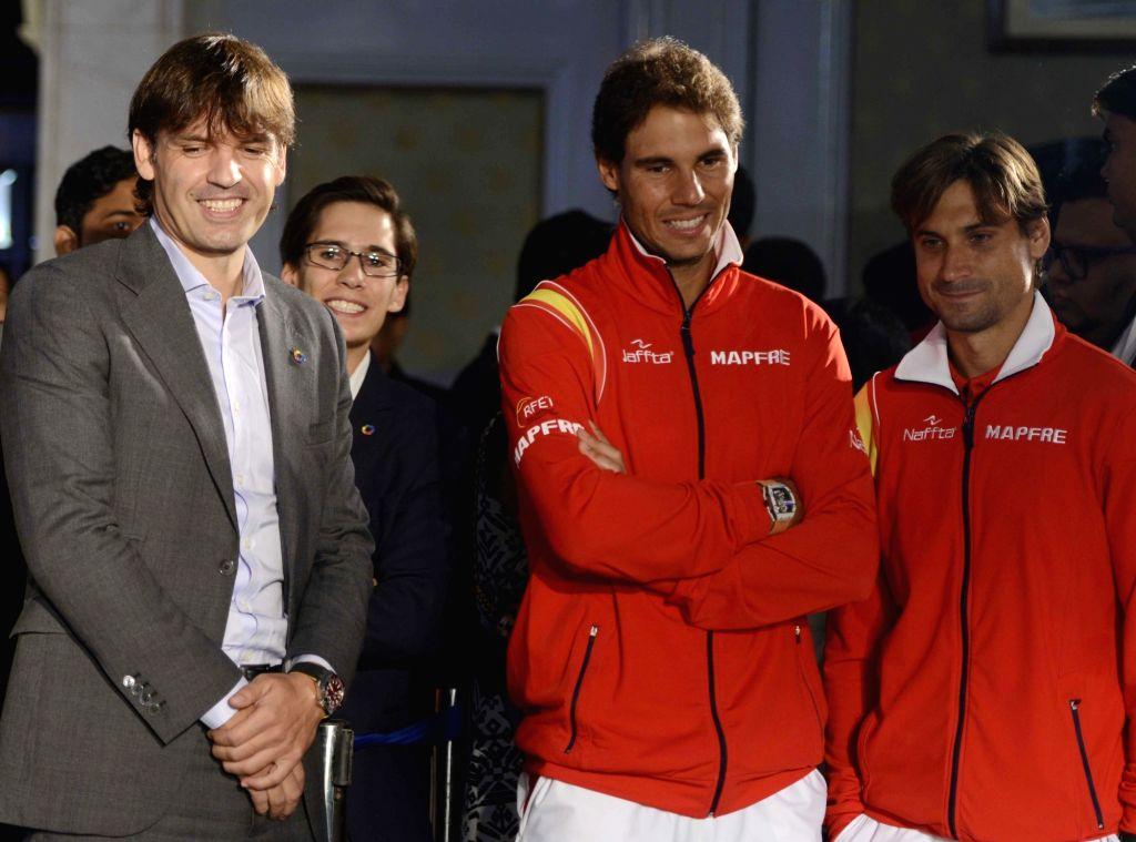 La Liga ambassador, former Real Madrid and Liverpool striker Fernando Morientes with Spanish tennis players Rafael Nadal and David Ferrer at the launch of La Liga in India, in New Delhi on ...
