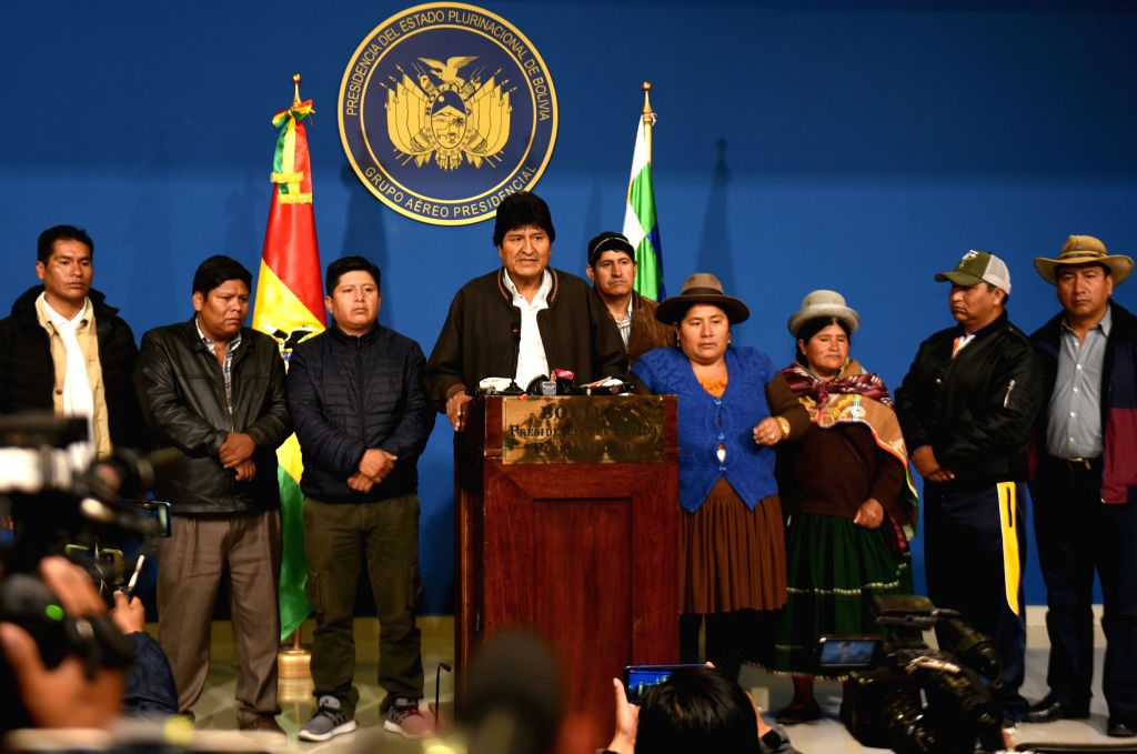 LA PAZ, Nov. 11, 2019 (Xinhua) -- Bolivian President Evo Morales speaks in a press conference in the city of El Alto, Bolivia, Nov. 10, 2019. Evo Morales announced his resignation on Sunday after calling for new national elections to pacify the count