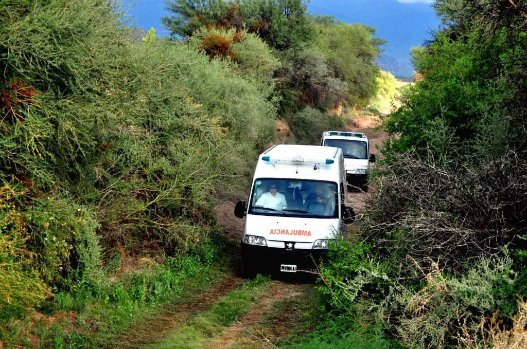 Ambulances carrying bodies of the victims leave the site of the collision of two helicopters, in the Villa Castelli locality, in La Rioja, Argentina, on March 10, ...