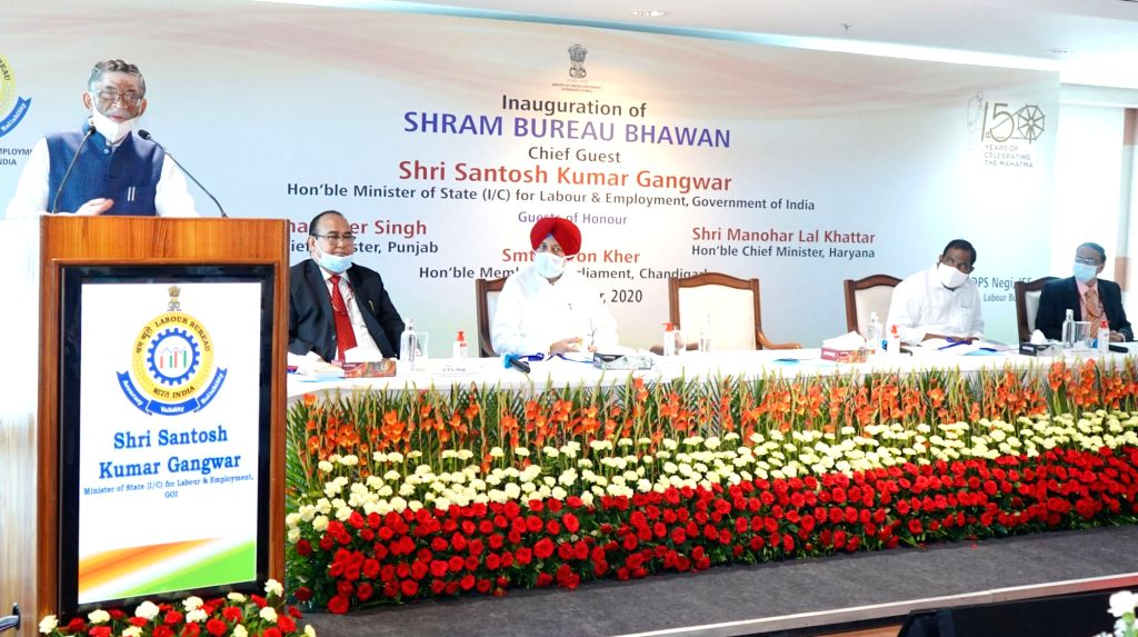 Labour and Employment (Independent Charge), Shri Santosh Kumar Gangwar addressing at the inauguration of the newly constructed building of Shram Bureau Bhawan to mark the Centenary year ...