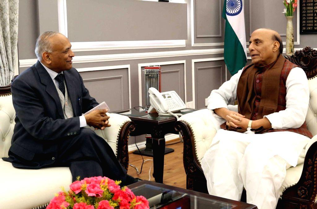 Ladakh Lieutenant Governor Radha Krishna Mathur meets Defence Minister Rajnath Singh in New Delhi on Jan 9, 2020. - Rajnath Singh