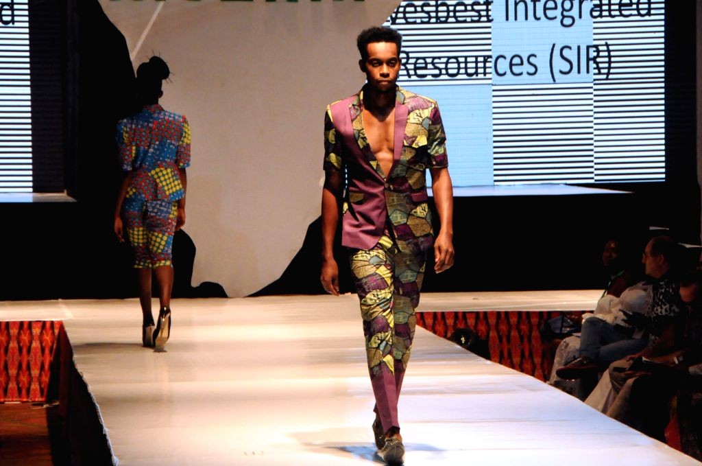 LAGOS, July 3, 2016 - Models present creations during the Africa Fashion Week Nigeria 2016 in Lagos, Nigeria, on July 2, 2016. The Africa Fashion Week Nigeria 2016 kicked off here on Saturday.
