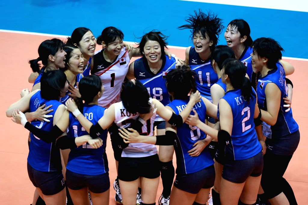 LAGUNA, Aug. 17, 2017 - Players of Japan celebrate for defeating Thailand during the final match in the 2017 Asian Women's Volleyball Championship in Laguna Province, the Philippines, Aug. 17, 2017. ...