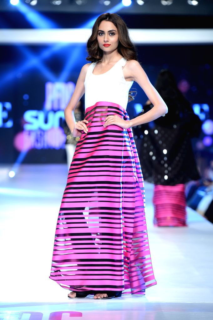 A model walks the ramp on Day-2 of PFDC Sunsilk Fashion Week 2015 in Lahore, on April 20, 2015.