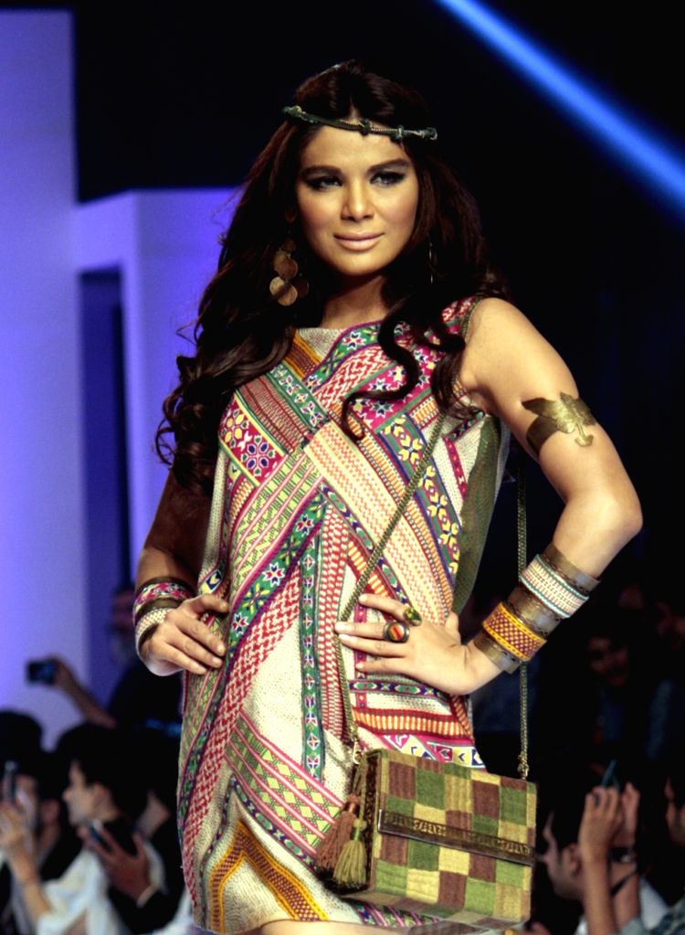 A model presents a creation by designer Shubinak during Pakistan Fashion Design Council (PFDC) Sunsilk Fashion Week in eastern Pakistan's Lahore, April 20, 2015. ...