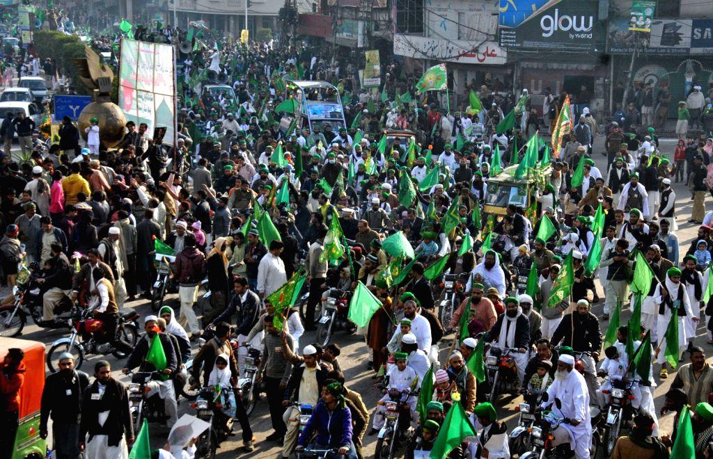A parade during celebrations marking Eid-e-Milad-un-Nabi