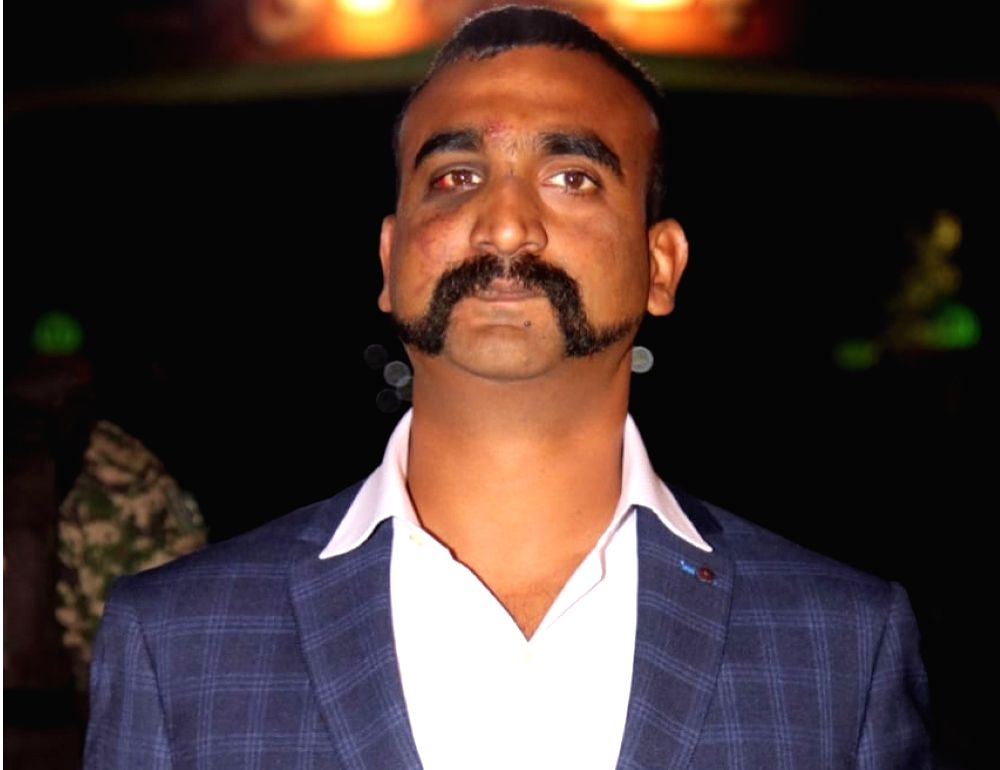 LAHORE, March 1, 2019 (Xinhua) -- Photo released by Pakistan's Inter-Services Public Relations (ISPR) on March 1, 2019 shows captured Indian pilot Abhinandan Varthaman standing at Wagah border crossing during a handover ceremony in eastern Pakistan's