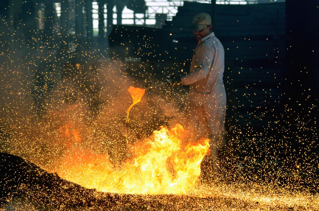 LAHORE, May 1, 2019 - A worker works at an iron factory in eastern Pakistan's Lahore on April 30, 2019.