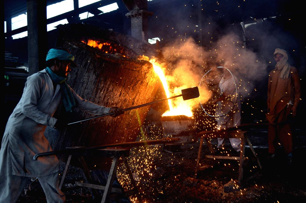 LAHORE, May 1, 2019 - Workers are seen at an iron factory in eastern Pakistan's Lahore on April 30, 2019.