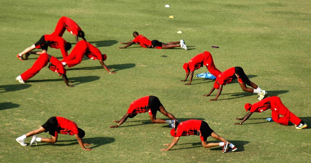 Lahore (Pakistan): Kenyan cricket players attend a training session for the upcoming match against Pakistan-A team at the Gaddafi Cricket Stadium in eastern Pakistan's Lahore on Dec. 10, 2014. The ...