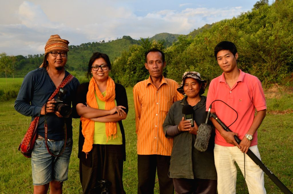 Laibi Oinam's (second from right) life changed after film-director Meena Longjam (second from left) decided to make a documentary film on her. - Meena Longjam