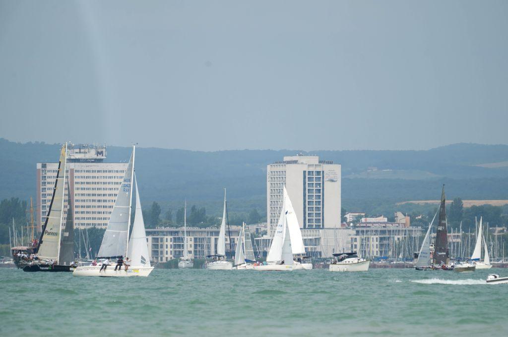 LAKE BALATOM, July 19, 2019 - Sailors compete during the Blue Ribbon Regattta race along the 160 km course around Lake Balaton near Balatonfured, in Hungary on July 18, 2019.