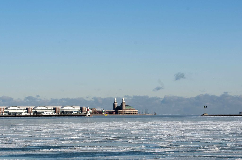 Lake Michigan was covered with ice on Jan. 18, 2016. It is the coldest morning of this winter season so far with sub-zero temperatures and wind chills across the ...