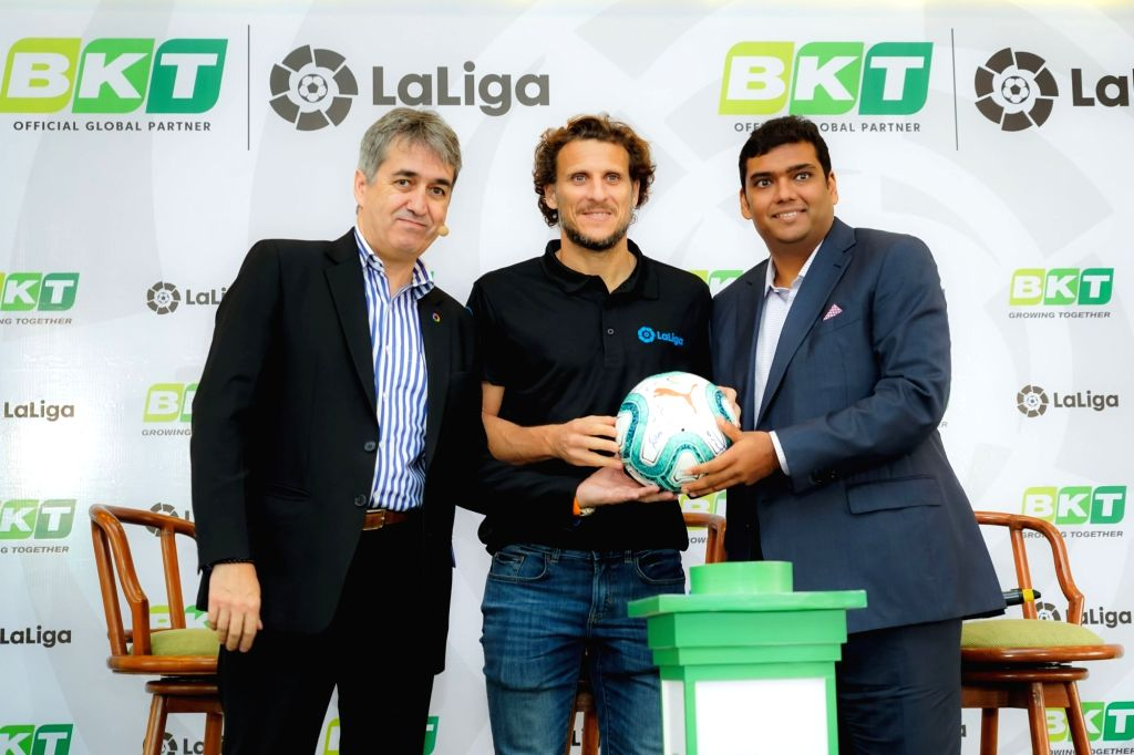 LaLiga Ambassador Diego Forlan, LaLiga India MD Jose Antonio Cachaza and Balkrishna Industries Limited (BKT) Joint Managing Director Rajiv Poddar during a programme where BKT signed on as ...