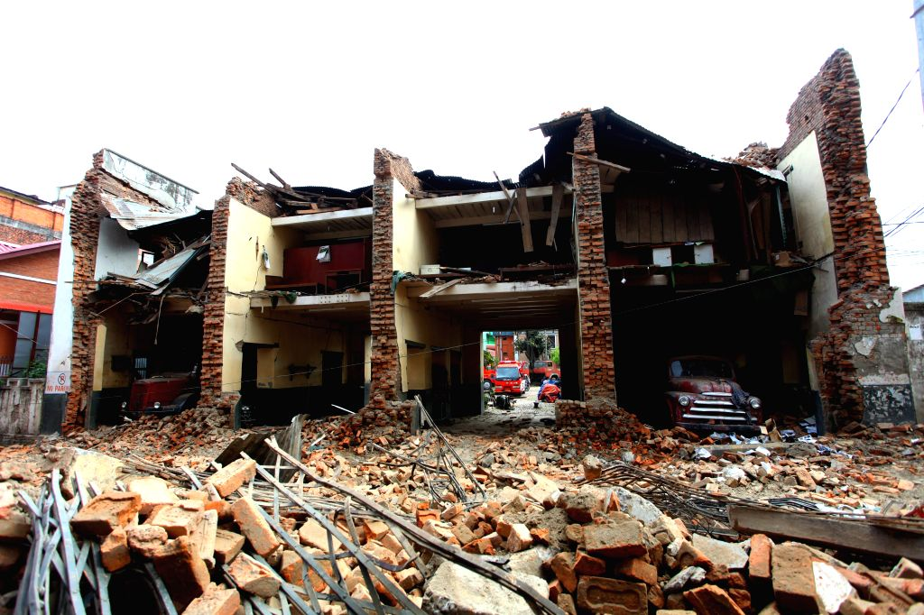 A fire station is seen damaged after earthquake in Lalitpur, Nepal, April 29, 2015. The 7.9-magnitude quake hit Nepal at midday on Saturday. The death toll from ... - Sunil Sharma