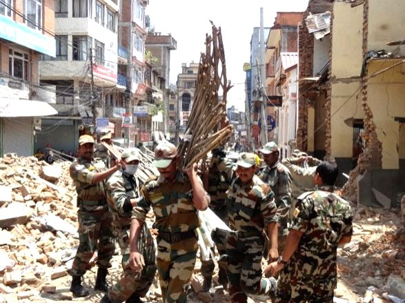 Indian Army Engineers involved in the rescue operation, at Lalitpur, in Nepal on May 2, 2015.