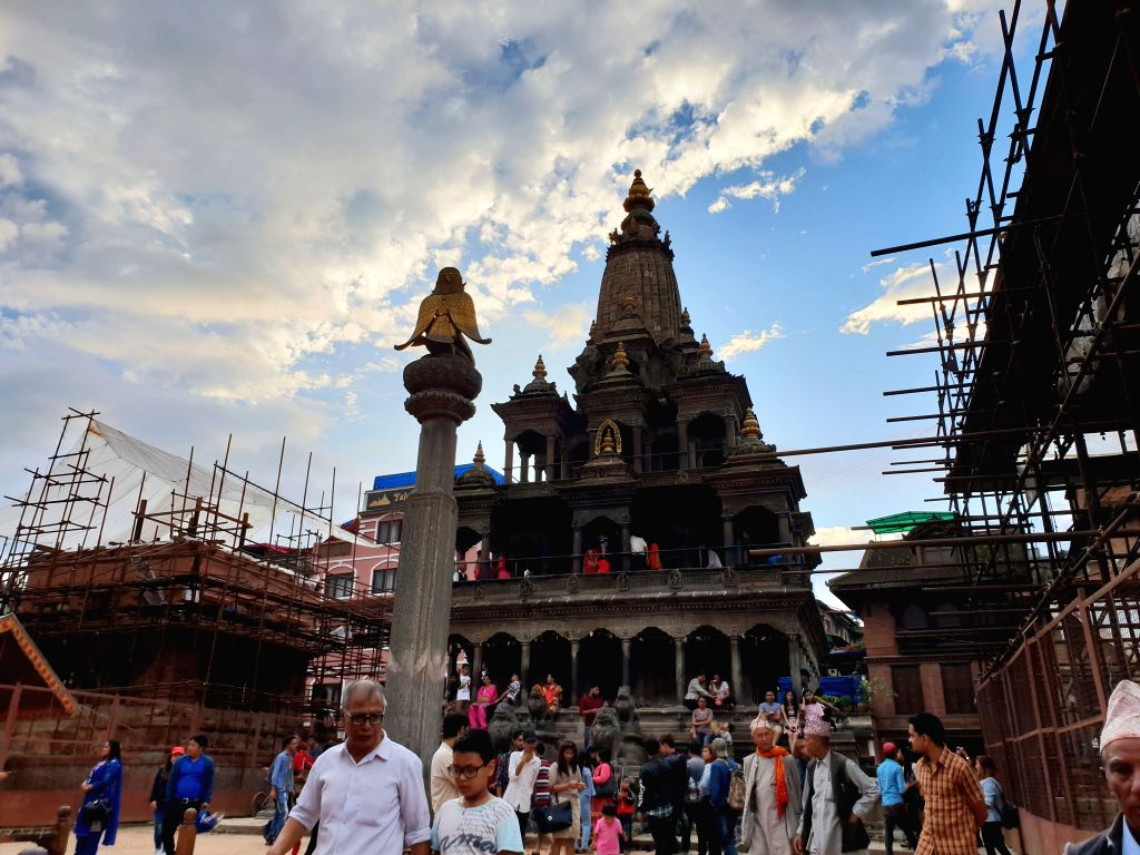 LALITPUR, Sept. 1, 2018 - Hindu devotees gather to offer prayers on the eve of Krishna Janmasthami festival at Krishna Mandir temple in Lalitpur, Nepal, Sept. 1, 2018.