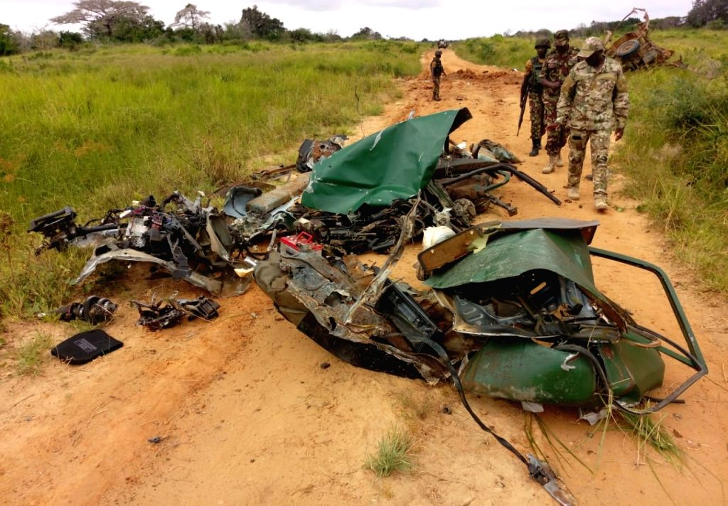 LAMU, Aug. 9, 2018 - Photo taken on Aug. 9, 2018 shows a wreckage of a Kenya Defence Forces (KDF) vehicle in Lamu county, Kenya. At least six KDF soldiers were injured on Wednesday in a suspected ...