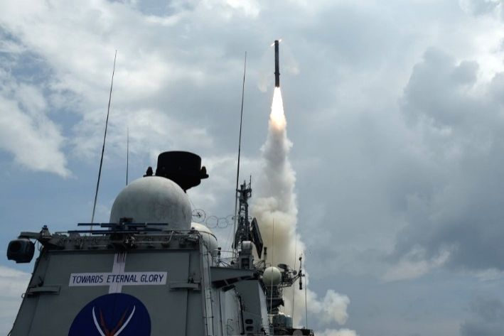 Land attack version of BrahMos supersonic cruise missile being test fired for the first time from an Indian Naval Ship, guided missile frigate Teg, off the eastern coast, at a land target ...