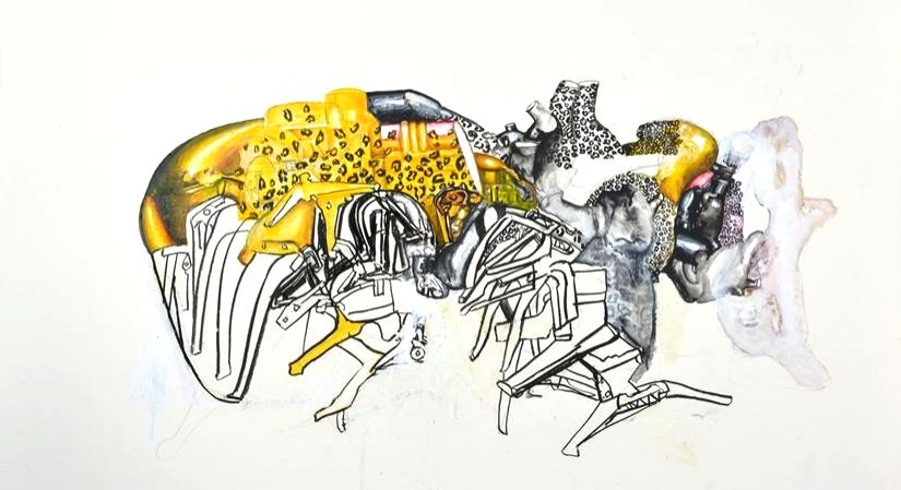 Landscape of a defunct harvest machine_Gouache, charcoal, acrylic and paper on mount board 32x42 inches.