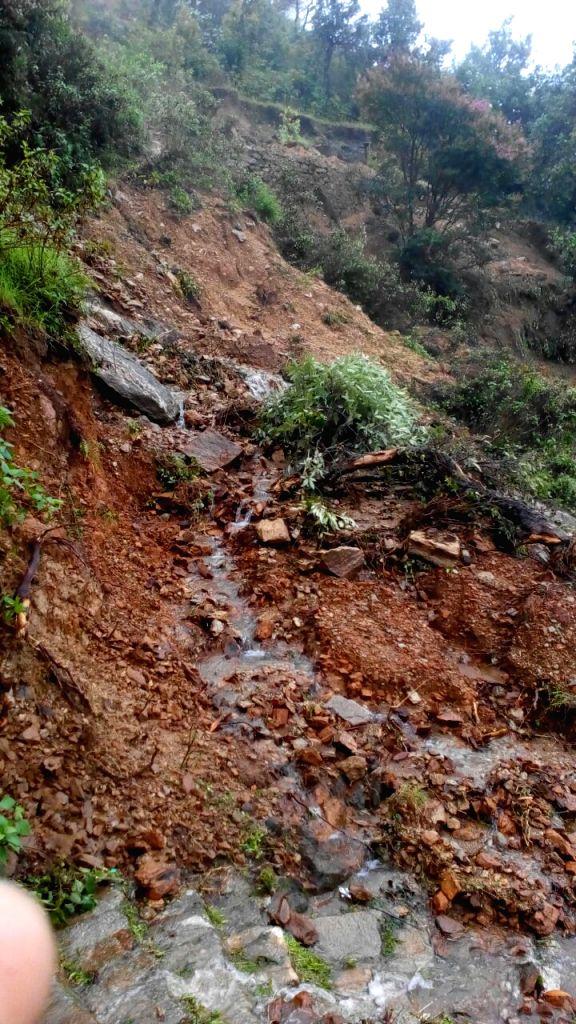 Landslide in Bastadi village of Uttarakhand's Pithoragarh district on July 1, 2016.