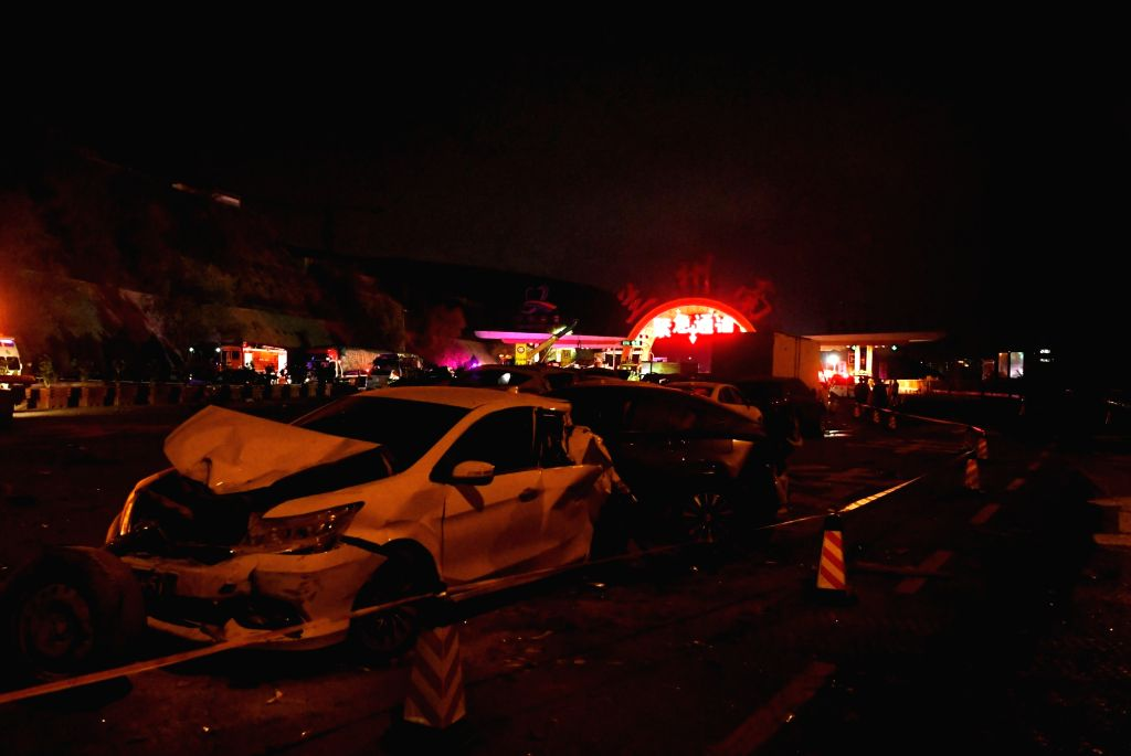 LANZHOU, Nov. 3, 2018 - Photo taken on Nov. 3, 2018 shows damaged vehicles at the site of a traffic accident at Lanzhou south toll station of Lanzhou-Haikou expressway in northwest China's Gansu ...