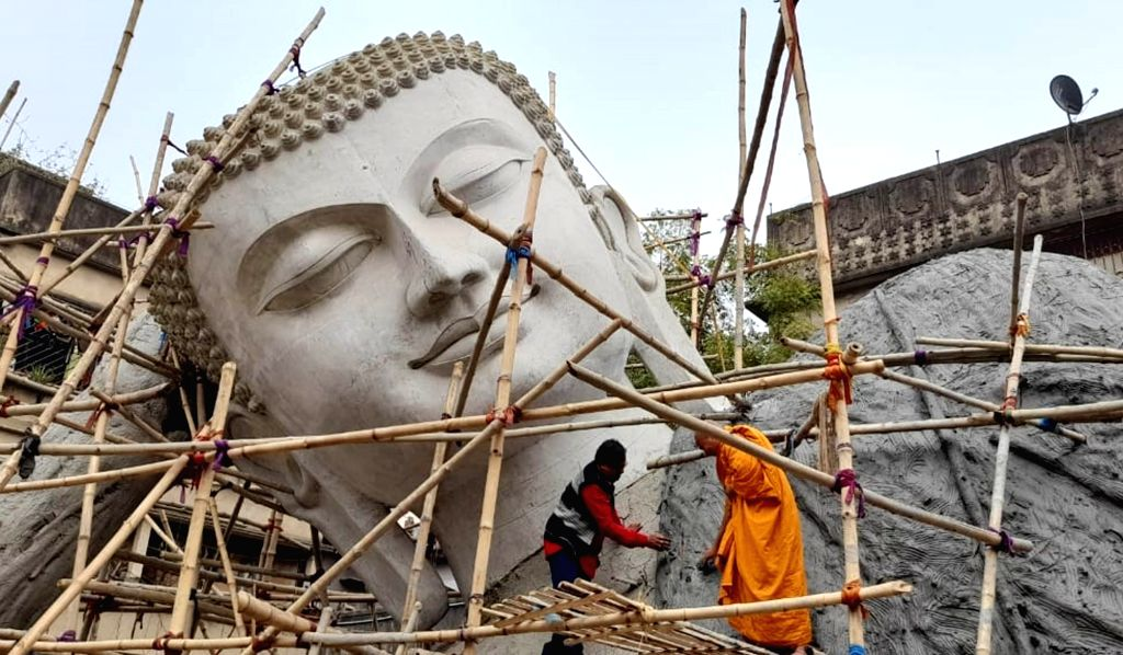 Largest lying Buddha of India to be set up at Bodhi Gaya, making of the statue of 100 feet is going on at Kolkata on Jan 25, 2021. Pix Kuntal Chakrabarty.