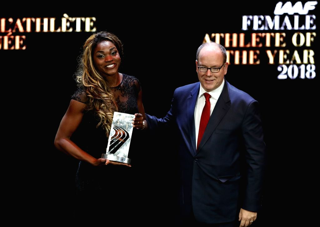 LARVOTTO, Dec. 5, 2018 - The female World Athlete of the Year, Colombian long jumper Caterine Ibarguen (L) attends the 2018 IAAF Athletics Awards ceremony in Larvotto, Monaco, on Dec. 4, 2018.